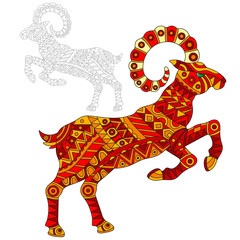 Illustration of abstract red goat, animal and painted its outline on white background , isolate