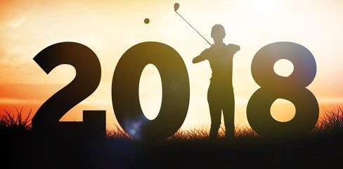 Composite image of golfer standing and waiting with stick in
