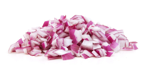 Sliced red onion on white background