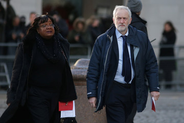 Britain's Labour Party leader Jeremy Corbyn and opposition spokesperson for Home Affairs Diane Abbott arrive at St Paul's Cathedral for a memorial service in honour of the victims of the Grenfell Tower fire, London