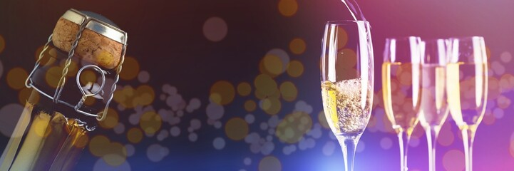 Composite image of full glasses of champagne and one being