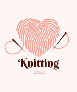 Knitting logo. Ball of yarn in heart with needles. Vector illustration