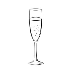 einfaches Sektglas - Vektor