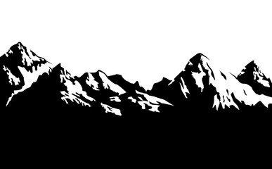 Black and white snowcapped mountains - vector background