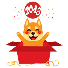 Cute dog inside open red surprise gift box celebrating 2018 year happy