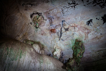 Prehistoric cave paintings over 3,000 – 5,000 years Tham Pee Hua To, Ao Luek Krabi THAILAND