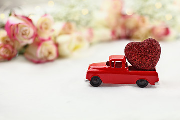 Vintage Toy Truck and Valentine's Day Heart