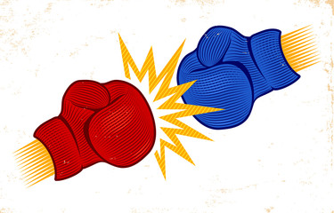 two boxing gloves in engraving style