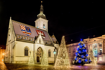 Zagreb christmas time advent. / Scenic view at upper town square in Zagreb town, advent christmas time in Croatia, Europe.