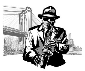 Saxophonist at Brooklyn Bridge