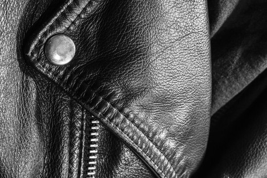 black leather jacket close up