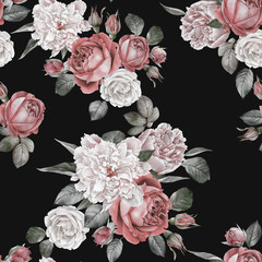 Floral seamless pattern with watercolor red roses and peonies