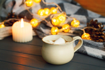 Picture of tasty cup of coffee with marshmallow
