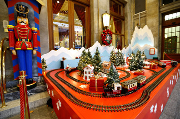 A train is pictured as part of the Christmas decoration of the Bellevue Hotel in Bern