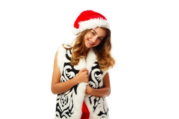 Young attractive Santa girl in red dress over white background