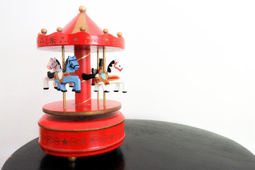 Carousel music box, The music makes us think of childhood as having fun. Many children will remember those good memories through this vintage small toys.