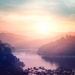 World environment day concept: Mountain river landscape at autumn sunset background. Bang Lang Reservoir at Bethong, Yala, Thailand, Asia.