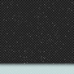 Winter snowy transparent dark background