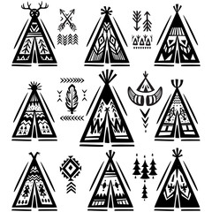 Set of tee-pee or wigwams with ornamental elements