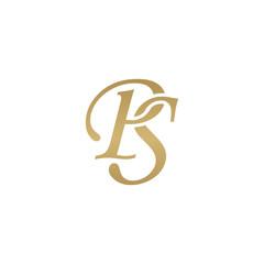 Initial letter PS, overlapping elegant monogram logo, luxury golden color