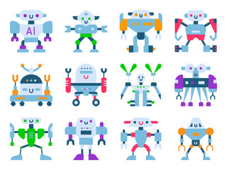 Robots vector cartoon robotic kids toy cute character monster or transformer cyborg robotics transform robotically isolated in white background illustration