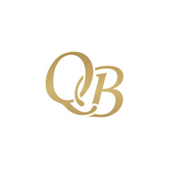 Initial letter QB, overlapping elegant monogram logo, luxury golden color