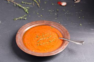 Tomato soup with beans, horizontal