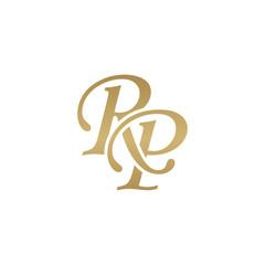 Initial letter RP, overlapping elegant monogram logo, luxury golden color