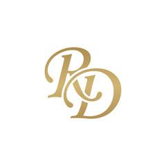Initial letter RD, overlapping elegant monogram logo, luxury golden color