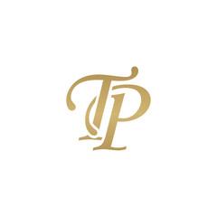Initial letter TP, overlapping elegant monogram logo, luxury golden color