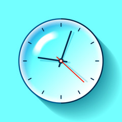 Clock icon in flat style, timer on turquoise background. Business watch. Vector design element for you project