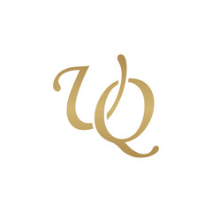 Initial letter UQ, overlapping elegant monogram logo, luxury golden color