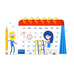 Vector illustration of detailed beautiful calendar With businessmen. Concept Flat Vector Illustration