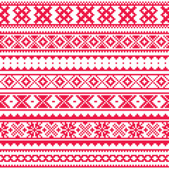 Lapland traditional red folk art design, Sami vector seamless pattern, Scandinavian, Nordic background