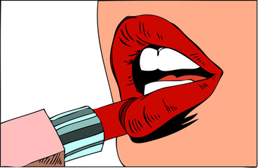 Pop art makeup. Closeup of sexy girl paints her lips with lipstick in her hand and empty speech bubble