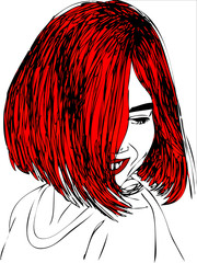 illustration,  young woman with red hair.