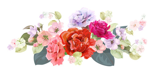 Bouquet of carnation schabaud, spring blossom. Horizontal border with red, mauve, pink flowers, buds, green leaves on white background. Digital draw illustration in watercolor style, vintage, vector