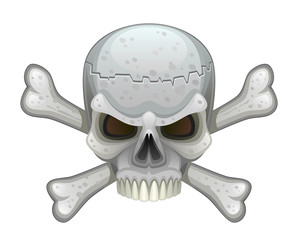 Skull with crossbones on a white background