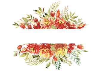 Beautiful watercolor border frame with peony, flower, foliage, branches. Handpainted lovely illustration. Can be used for greeting card, wedding, Birthday and baby cards, invitation.