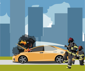 Car fire Icon with fireman