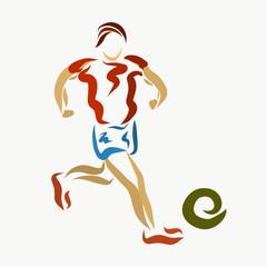 Man running for the ball, creative