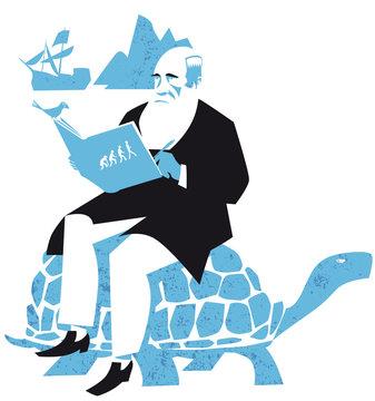 Charles Darwin, the Origin of Species, vector illustration
