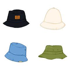 Vector Set of Cartoon Bucket Hats. Hip-hop Style Headwear.