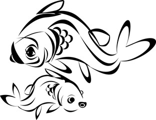 Tattoo fish vector line drawing isolated