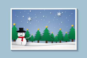 Merry Christmas and Happy New Year, winter landscape with snowman , xmas background, paper art style