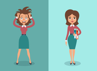 Vector illustration of cute cartoon brunette businesswoman in stress and calm states. Wall mural