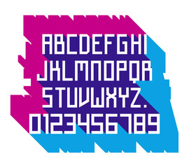 Vector linear font - simple alphabet in Russian constructivism style. Futuristic Font. Alphabet, typeface, typography, typewriter set. Latin alphabet letters with numbers.