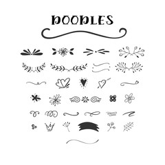 Handdrawn vector doodle set.