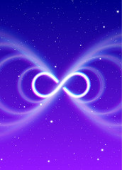 Magic infinity symbol, lemniscate or sideways eight spreads the mystic shiny energy in spiritual space