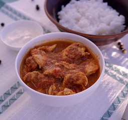Traditional Indian curry from chicken